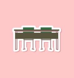 paper sticker on stylish background school desk vector image vector image