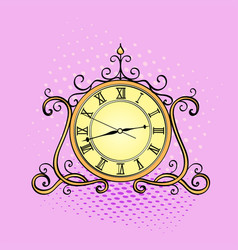 pop art background desktop clock retro object vector image