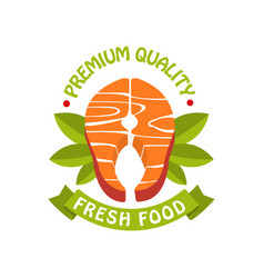 Premium quality fresh food logo template badge vector