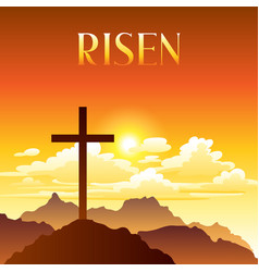 Risen easter greeting card vector