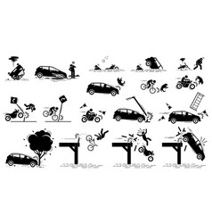 Road hazard car accident and traffic mishap icons vector