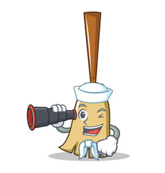 sailor with binocular broom character cartoon vector image