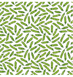 seamless endless pattern of green peas and peeled vector image