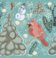Seamless winter pattern with cute cardinal bird vector