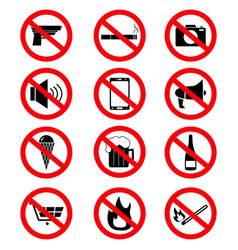 Set of the prohibition signs of icons vector