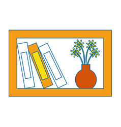 Shelf with decorative objects icon vector
