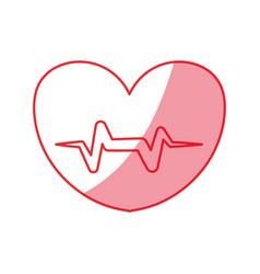 Silhouette heartbeat sign of cardiac rhythm vector