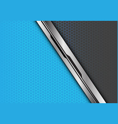 silver black line overlap blue grey hexagon vector image