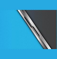 Silver black line overlap blue grey hexagon vector