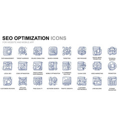 simple set seo optimization line icons for website vector image