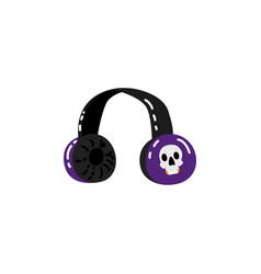 sketch headphones with skull print vector image