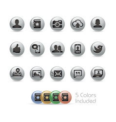 social web icons - metal round series vector image