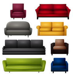 sofa and couches colorful cartoo vector image