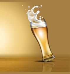 Splashing beer in a glass vector