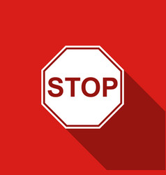 stop sign icon isolated with long shadow vector image