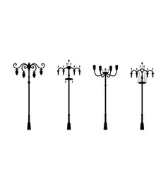 street lamps in silhouette style vector image
