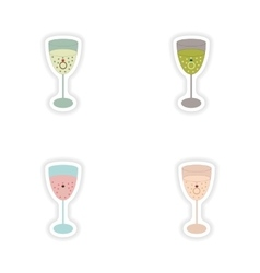 Stylish concept paper sticker glass champagne Ring vector