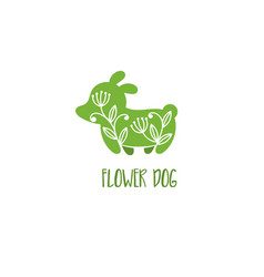 template icon dog with flower vector image