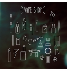 The linear icons on a blurred background Vape vector