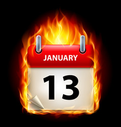Thirteenth january in calendar burning icon on vector
