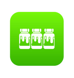 Three plastic jars with gouache icon digital green vector