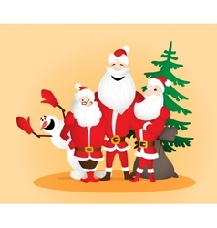Three Santa Clauses with snowman and sack and vector