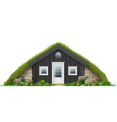 Traditional icelandic turf house vector