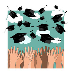 university graduation ceremony flat vector image