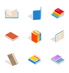 Various books icons isometric 3d style vector