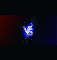 Versus banner with blue sparkling lightning vector