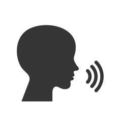 Voice command control icon face silhouette with vector
