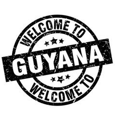 welcome to guyana black stamp vector image