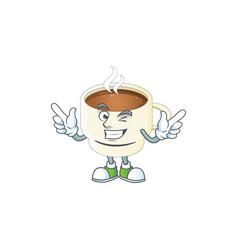 Wink character cup coffee in cartoon mascot vector