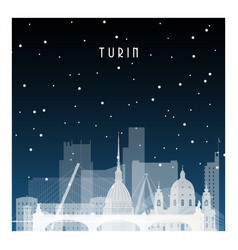 Winter night in turin night city in flat style vector