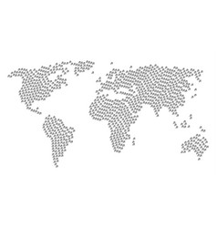 worldwide map mosaic of music notes items vector image