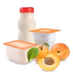 Yogurt and apricot vector