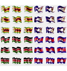 Zimbabwe American Samoa Kenya Cambodia Set of 36 vector