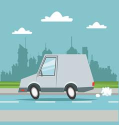 car van transport city background vector image