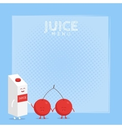 Funny cute cherry juice packaging and glass drawn vector image vector image