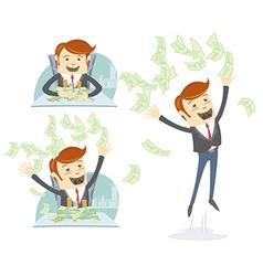 Happy office man hipster throwing and holding vector image