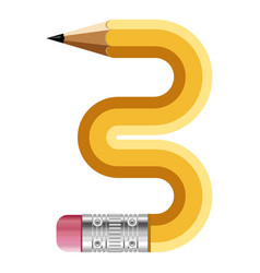 number three pencil icon cartoon style vector image