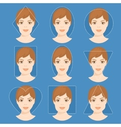 Set of different woman face shapes 4 vector image