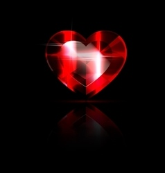 solid red heart-crystal vector image vector image
