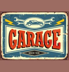 vintage garage sign vector image vector image