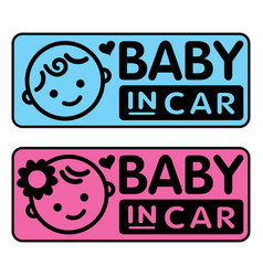 baby boy and girl baby in car sticker vector image