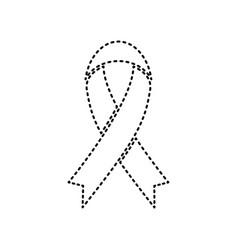 black awareness ribbon sign black dashed vector image vector image