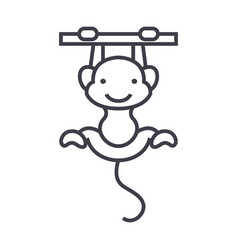 cute monkey line icon sign vector image vector image