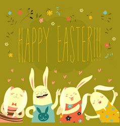 funny bunnies celebrating easter vector image vector image