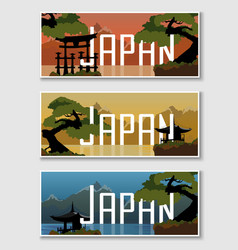 Set Japanese web banner vector image