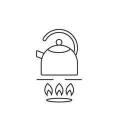 thin line teapot on gas stove vector image vector image
